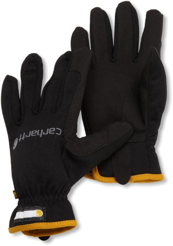General Utility Spandex Gloves - Carhartt Men's Work Flex Spandex Work Glove with Water Repellant Palm, Black, XX-Large