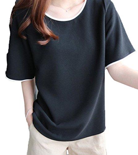 Courtes Tops Rond Femme Sweatshirts Lache Casual Chemisiers Noir Blouse T Haut Shirts Col t Manches Fashion wvqpBXW