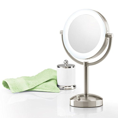 Brookstone 10X 1X Natural-Light Tabletop Makeup Mirror