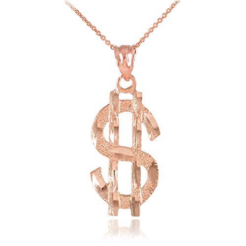 Collier Femme Pendentif 14 Ct Or Rose Dollar Signe (Livré avec une 45cm Chaîne)