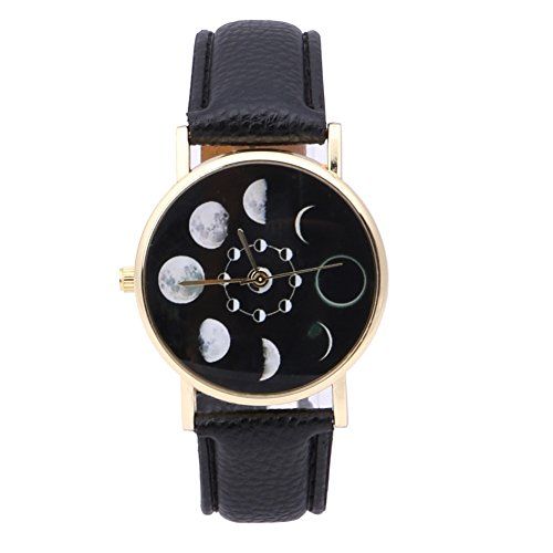 Jocestyle Women Teen Girls Fashion Solar Moon Phase Lunar Eclipse Casual Watch Student PU Leather Strap Quartz Wristwatch (03 Black)