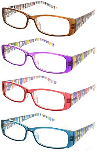 Rectangular Weight (Fiore 4 Pack Cool Hip Rectangular Aztec Reading Glasses Light Weight Spring Hinges)