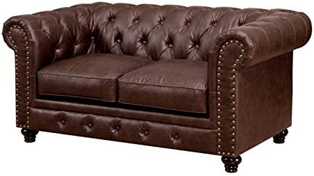 Furniture of America Villa Traditional Tufted Faux Leather Loveseat in Brown