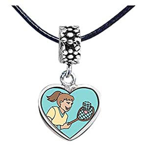 Chicforest Silver Plated Olympics Women Badminton player Photo Flower Head Dangle Heart Charm Beads Fits Pandora Bracelet