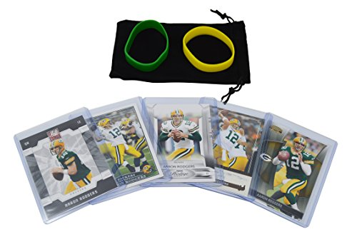 Aaron Rodgers Football Cards Assorted (5) Bundle - Green Bay Packers Trading Cards