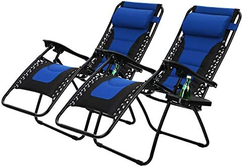 PHI VILLA Padded Zero Gravity Patio Lounge Chairs Adjustable Reclining