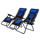 PHI VILLA Padded Zero Gravity Patio Lounge Chairs Adjustable Reclining with Cup Holders, 2 Pack (Blue)