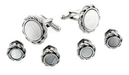 JJ Weston Mother of Pearl Tuxedo Cufflinks and Shirt Studs. Made in The USA. by JJ Weston