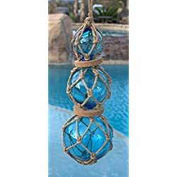 Blue Roped Buoy Set with 3 Glass Buoys Nautical Decor Fisherman's Net Ball