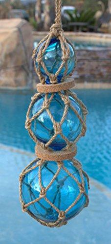Blue Roped Buoy Set with 3 Glass Buoys Nautical Decor Fisherman's Net Ball