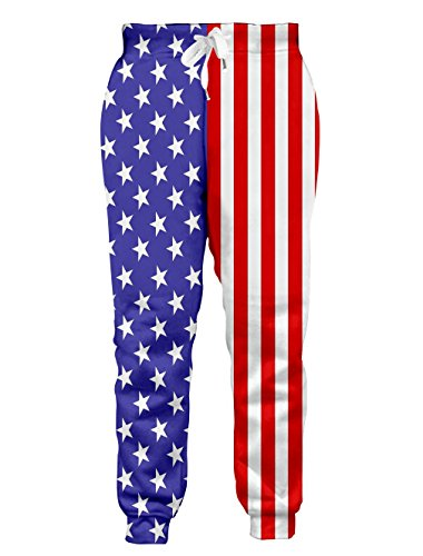 Leapparel Unisex USA Flag Elastic Waist Tracksuit Sweatpants Sports Gym Jogger Pants L
