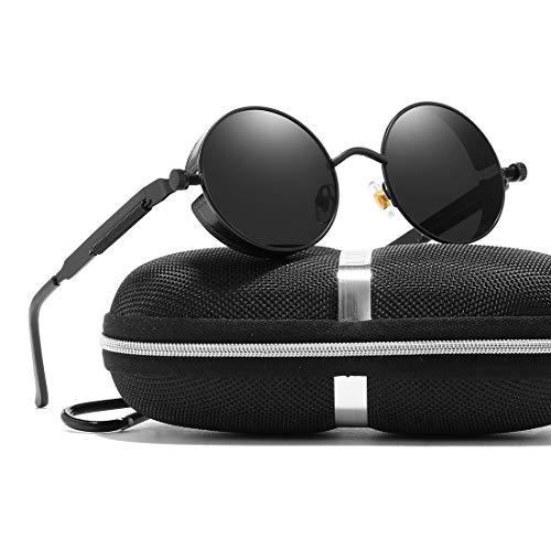 Vintage Retro Round Gothic Circle Steampunk Polarized Sunglasses Metal Alloy Polarized Sun glasses for Men Women (Black Frame Grey Lens, POLARIZED LENS & 100% ()