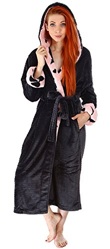 Livingston Luxurious Classic Flannel Long Sleeve Hooded Velour Robe w/Pockets, Black