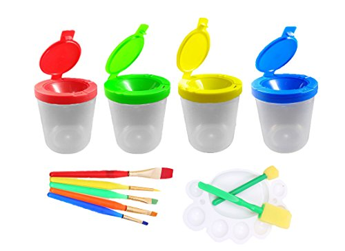 Shoppy 4 Pcs Spill Proof Paint Cups With Lid in 4 Colors And 1 Art Paint Set for Kids Toddler - Including 5 Flat Craft Small Brushes, 1 Painting Tray, (Cup Including Lid)