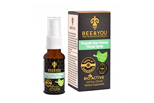 BEE & YOU Propolis Raw Honey Throat Spray - Sore Throat Relief - Immune Support - Natural Cold Flu Cough (Sore Throat Cough Relief)