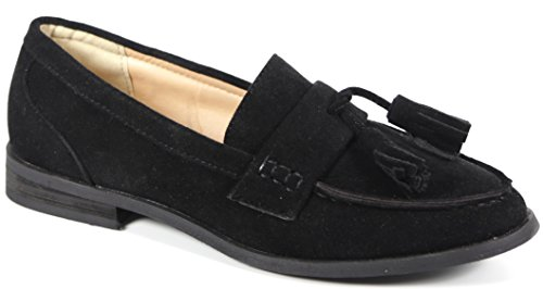 Bucco Oxee Womens Fashion Vegan Leather Loafers Black Suede