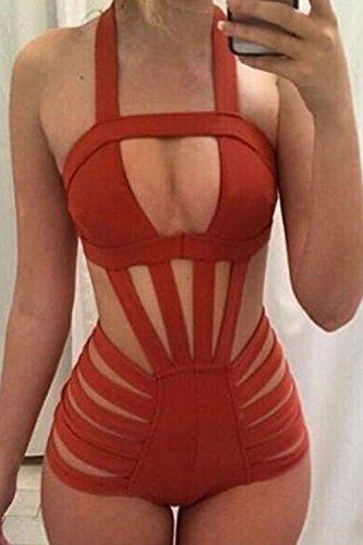La Mujer Es Una Pieza Del Traje De Baño Bikini Trikini Hollow Out Red
