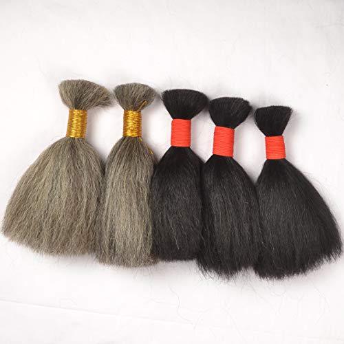 100% animal hair make up Fine wash boutique hair full hair high-end hair film makeup hood crochet wig material yak hair bundle beard, mustache (40 cm, Gray)