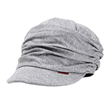 Fashion Design Beanie Hat For Ladies Drape Layers Peaked Cap Casual Cap Gray