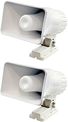 "2) Pyle PHSP4 6"" 50 Watt Indoor/Outdoor Waterproof Home PA Horn Speaker - White"
