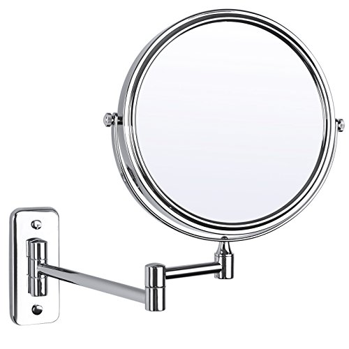 (SONGMICS 5x Magnifying Wall Mount Makeup Mirror 8 Inch Two-Sided Swivel Extendable Bathroom Mirror Chrome UBBM513)