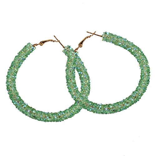 - Women Girls Fashion Shining Round Circular Earrings Hoop Earrings Ear Clip Jewelry Gift (Green)