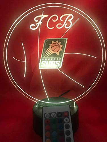(Phoenix Beautiful Handmade Acrylic Personalized Suns NBA Basketball Light Up Light Lamp LED Table Lamp, Our Newest Feature - It's WOW, With Remote,16 Color Options, Dimmer, Free Engraved, Great Gift)