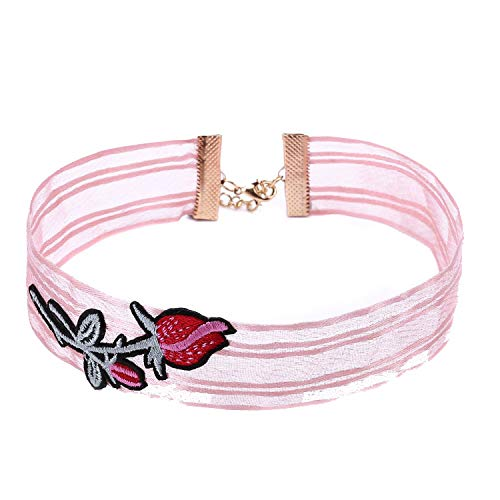 Muslin Lace Ribbon Embroidery Rose Flower Choker Necklace Women Necklaces Knitting Collar Jewelry,Gold-Color,Black A,32 Extend 5Cm