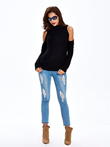 6137e203ab8cda Choies Women Black Turtleneck Cut Out Cold Shoulder Ribbed Knit Slim  Pullover Sweater
