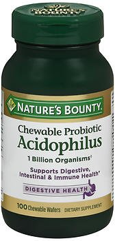 - Nature's Bounty Acidophilus Chewable Wafers Natural Strawberry Flavor - 100 Wafers, Pack of 3