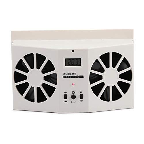DishyKooker Car Interior Auto Air Vent Solar Powered Cool Fan Ventilation System Dual-Fan Ventilator White
