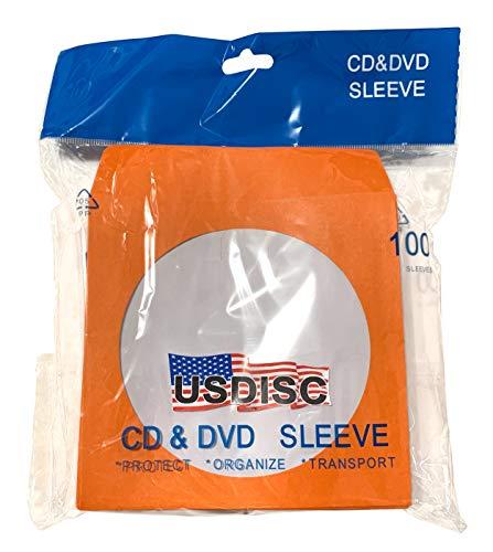 USDISC Paper Sleeves 100g Window, Flap, Orange, Pack of 300 ()