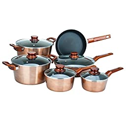 Aramco AI-MC11 11 Piece Aluminum Metallic Cookware Set, Large, Copper