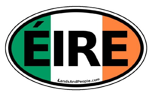 Ireland EIRE in Irish and Irish Flag Car Bumper Sticker Decal ()