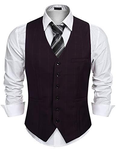 COOFANDY Chaleco de traje para hombre, chaleco de traje a cuadros, chaleco para hombre, cuello en V, sin mangas, corte…