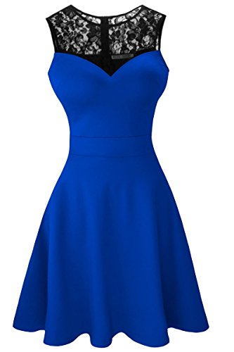 Sylvestidoso Women's A-Line Sleeveless Pleated Little Blue Cocktail Party Dress with Black Floral Lace (M, Blue)