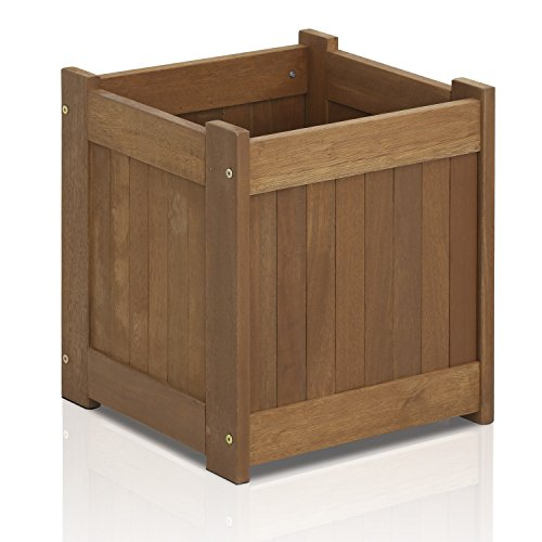 (Furinno FG16450 Tioman Hardwood Patio Furniture Flower Box in Teak Oil, One-Pack)