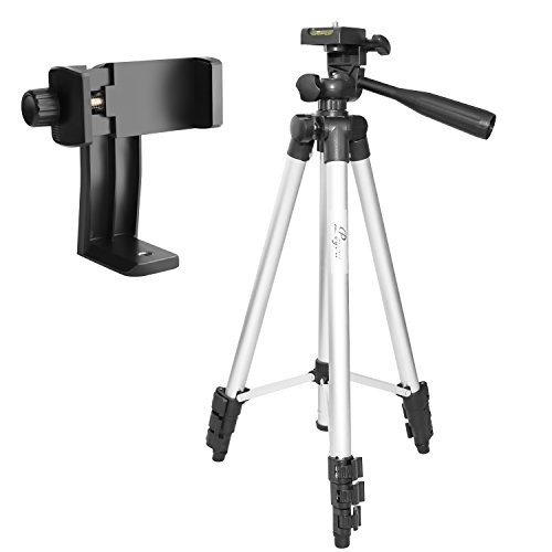 Tripod for iPhone, Peyou 50' Aluminum Camera Tripod + 360°Rotation Smartphone Holder Mount For iPhone X 8 8 Plus 7 7 Plus 6s 6 Plus, Samsung Galaxy Note 8 S8 S8 Plus S7 S7 Edge, More Phones & Cameras