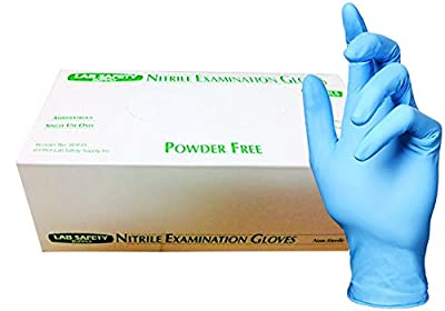 Lab Safety 121958XL-BX Medical Grade Examination Glove, Nitrile Synthetic Rubber, 8 mil - 9 mil, Powder-Free, Textured, X-Large, Blue (Pack of 100)