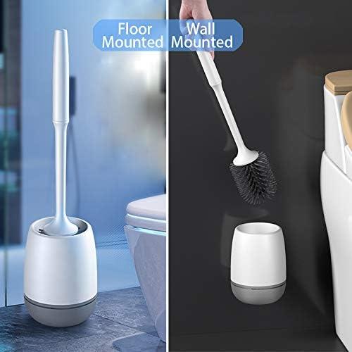 HEPAZ Scopino per WC,Scopino e Supporto per Toilette,Montaggio a Parete e Spazzolino da Toilette in Silicone ad Asciugatura Rapida Scopino per WC