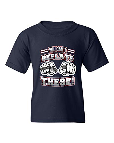 You Can't Deflate These Champion New England Football DT Youth Kids T-Shirt Tee (Medium, Navy Blue) (New England Patriots Vs Denver Broncos 2014)