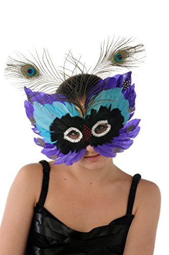 Halloween Costume - Feather Eye Mask - Colourful Ball Face - Black Blue Purple
