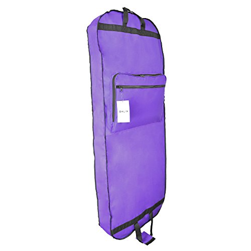 DALIX 60' Professional Garment Bag Cover Suits Dresses Gowns Foldable Shoe Pocket in Purple