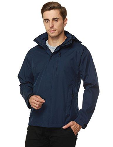 MIER Men's Hooded Rain Jackets Waterproof Rain Shell Windbreaker for Outdoor, Navy, (Mesh Lined Windbreaker)