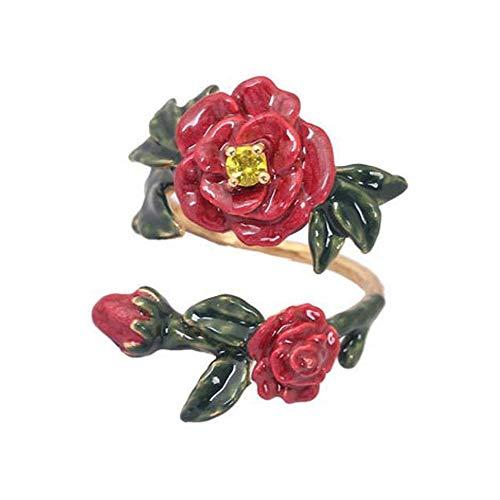 (MAFYU Lady Ring Enamel Glaze Flower Insert Drill Opening Adjustable Ring Gift to Dear)