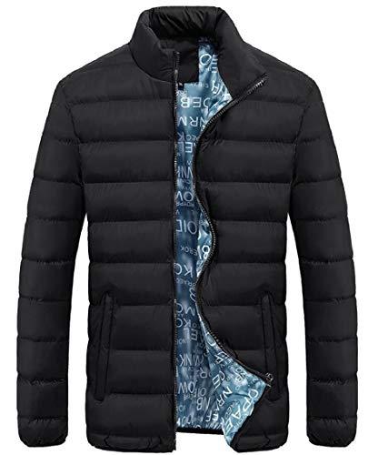 Coat Down Black Jacket Sleeve Long Thicken Winter Stand Zipper Men Gocgt Neck qHvFgp