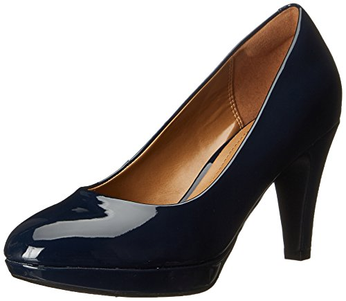 CLARKS Women's Brier Dolly Platform Pump, Navy, 10 W US Wide Dress Pumps