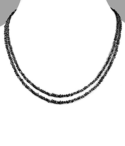 Barishh 17-18 inches. Two strand Rough Black Diamond Beads Necklace.80 Cts. Certified.Rare.Earth Mined by Barishh