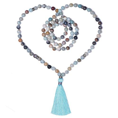 - Choker 108 Mala Beads Hand Knotted Tassels Japa Malas Necklace Bracelet For Prayer Meditation Yoga