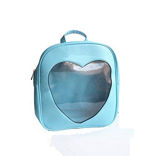 Carcasa Bling Piel Mochila bolsa funda de alta calidad para las niñas–transparente, PVC en forma de corazón hueca azul